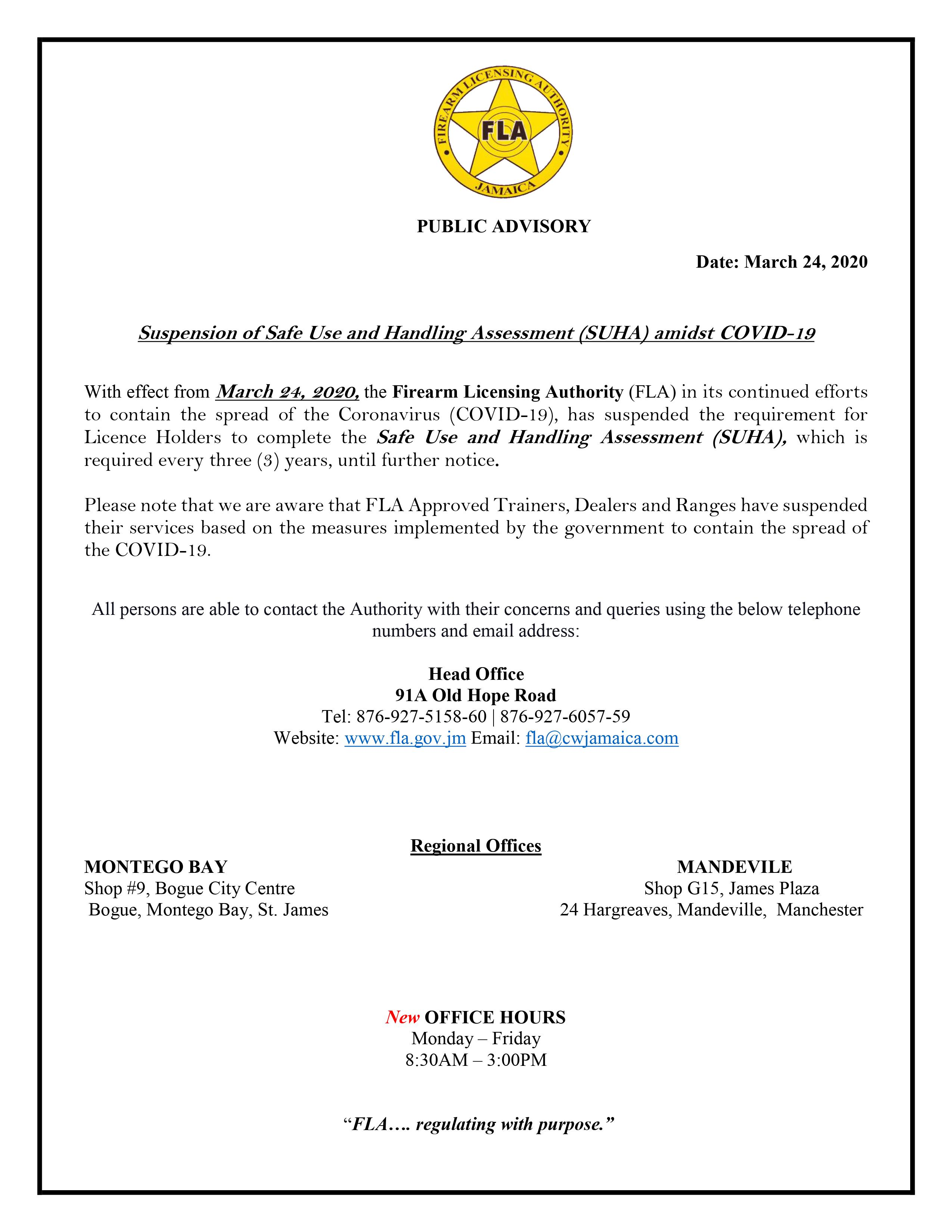 PUBLIC NOTICE Safe Use and Handling Assessment SUHA